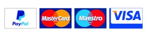 PayPal, Visa, MasterCard, Maestro, AMEX accepted